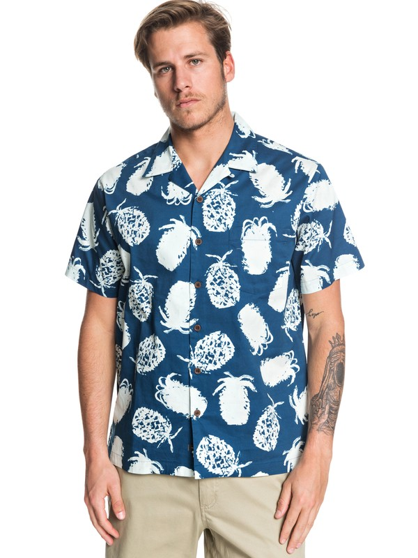 0 Waterman Pineapple Web Short Sleeve Shirt Blue EQMWT03277 Quiksilver