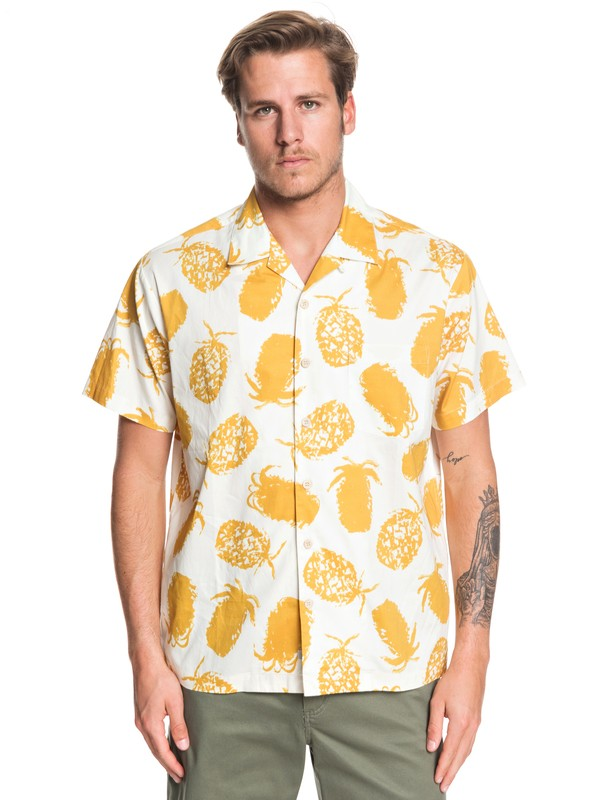 0 Waterman Pineapple Web Short Sleeve Shirt White EQMWT03277 Quiksilver
