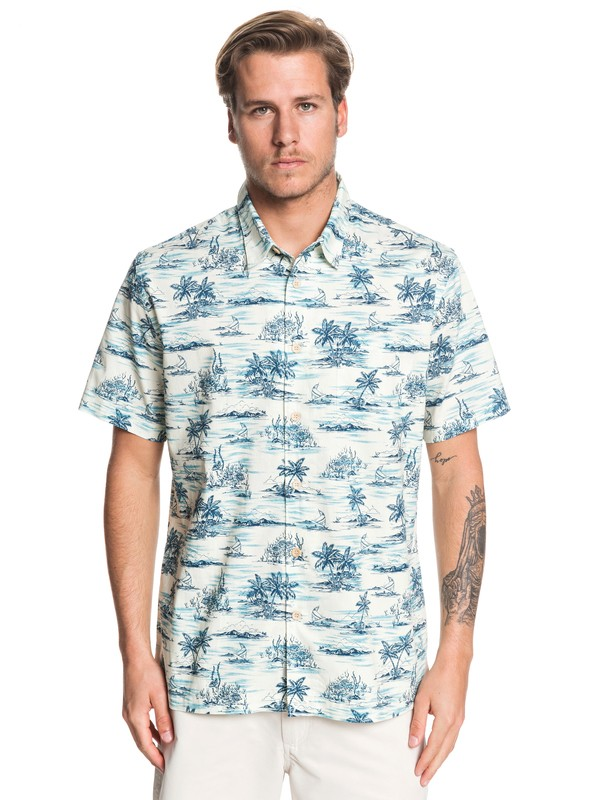 0 Waterman Shaka Bay Short Sleeve Shirt Blue EQMWT03283 Quiksilver