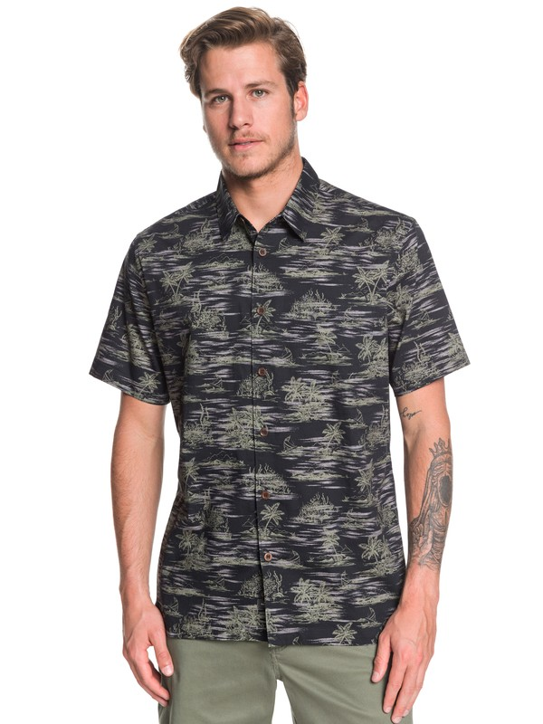 0 Waterman Shaka Bay Short Sleeve Shirt Black EQMWT03283 Quiksilver