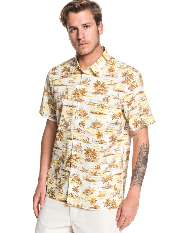 0 Waterman Shaka Bay Short Sleeve Shirt Yellow EQMWT03283 Quiksilver