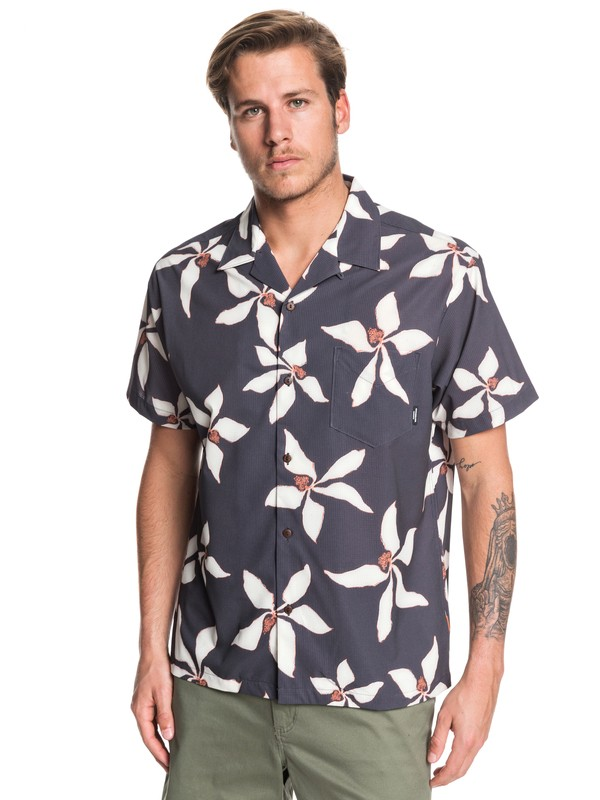 0 Waterman Falling Blossom Lightweight UPF 30 Short Sleeve Shirt Black EQMWT03284 Quiksilver