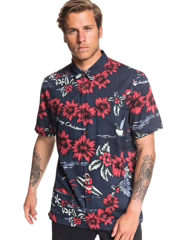0 Waterman San O Clause Short Sleeve Shirt Blue EQMWT03286 Quiksilver