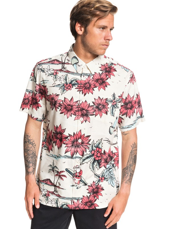 0 Waterman San O Clause Short Sleeve Shirt Grey EQMWT03286 Quiksilver
