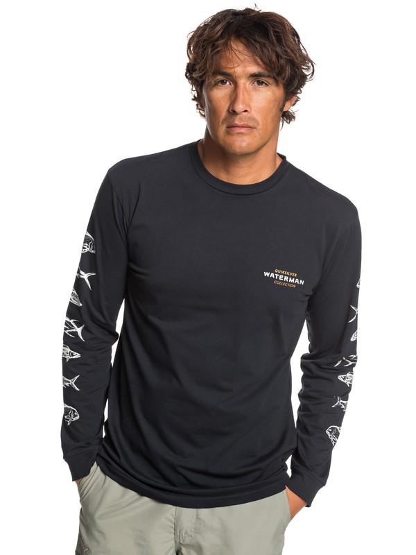 0 Waterman Aztec Fish - Camiseta de Manga Larga para Hombre Negro EQMZT03153 Quiksilver