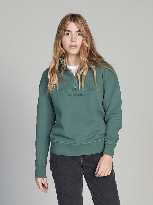 0 Quiksilver Womens Half-Zip Sweatshirt Green EQWFT03004 Quiksilver