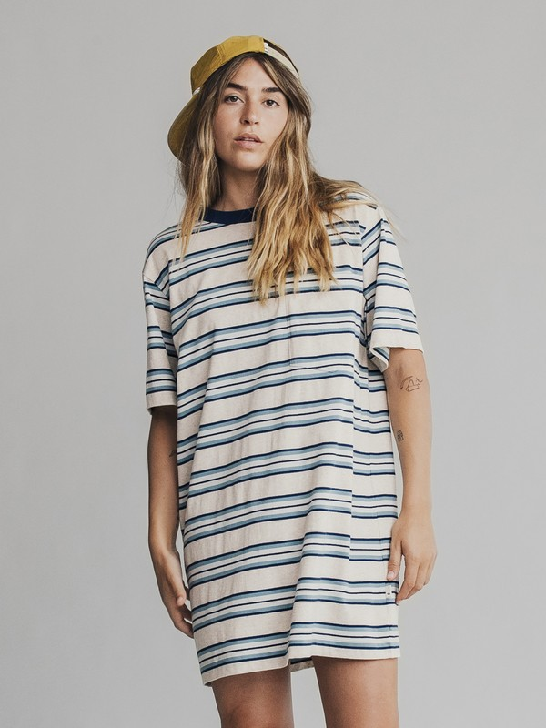 0 Quiksilver Womens Short Sleeve T-Shirt Dress Blue EQWKD03000 Quiksilver