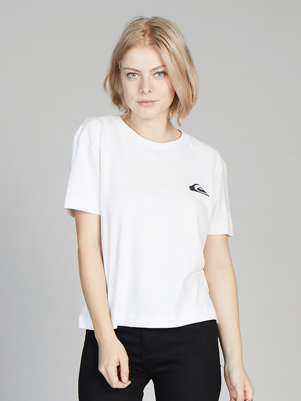 0 Quiksilver Womens Cropped Tee White EQWKT03003 Quiksilver