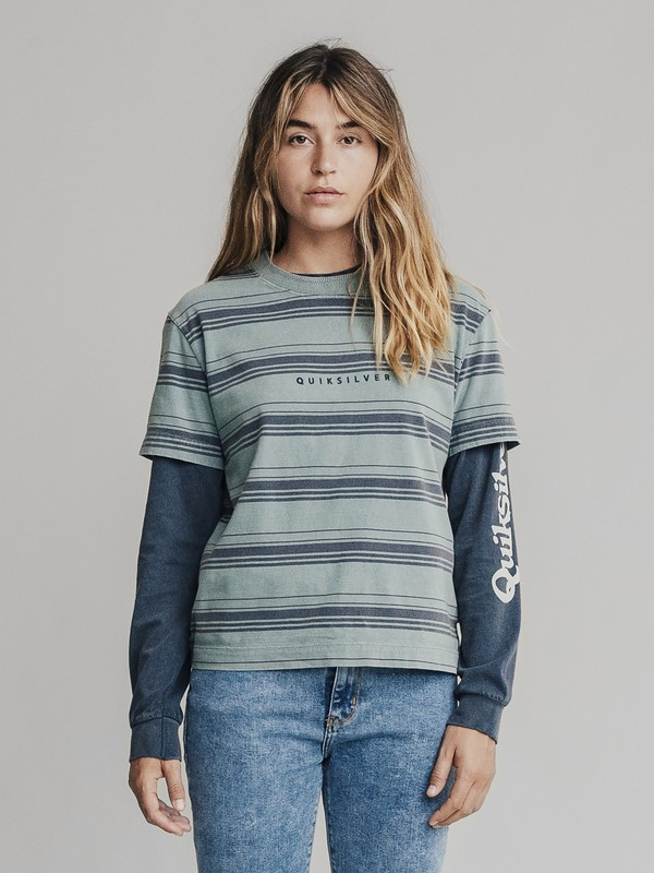 0 Quiksilver Womens Cropped Tee Blue EQWKT03006 Quiksilver