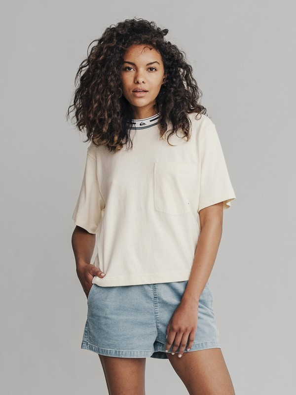 0 Quiksilver Womens - Camiseta Crop para Mujer Blanco EQWKT03009 Quiksilver