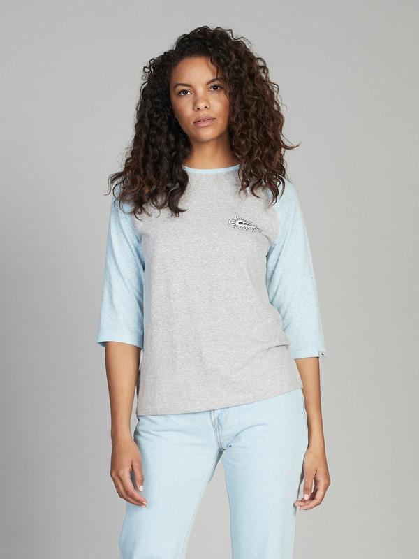 0 Quiksilver Womens 3/4 Sleeve Tee Grey EQWKT03015 Quiksilver