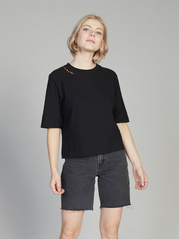 0 Quiksilver Women's Cropped 3/4 Sleeve Tee Black EQWKT03026 Quiksilver