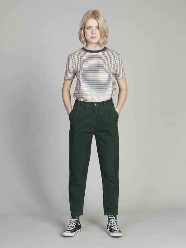 0 Quiksilver Womens Pleated Corduroy Pants Green EQWNP03004 Quiksilver