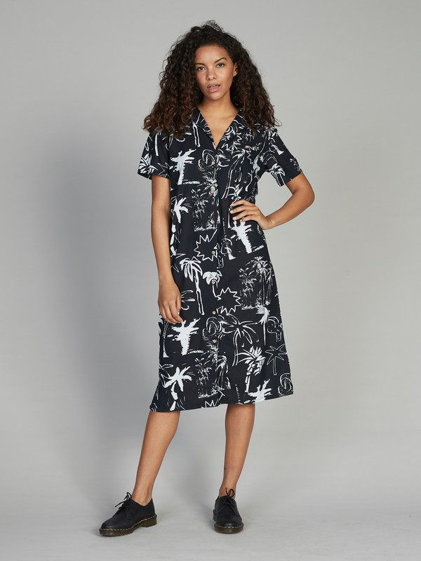 0 Quiksilver Women's Short Sleeve Shirt Dress Black EQWWD03000 Quiksilver