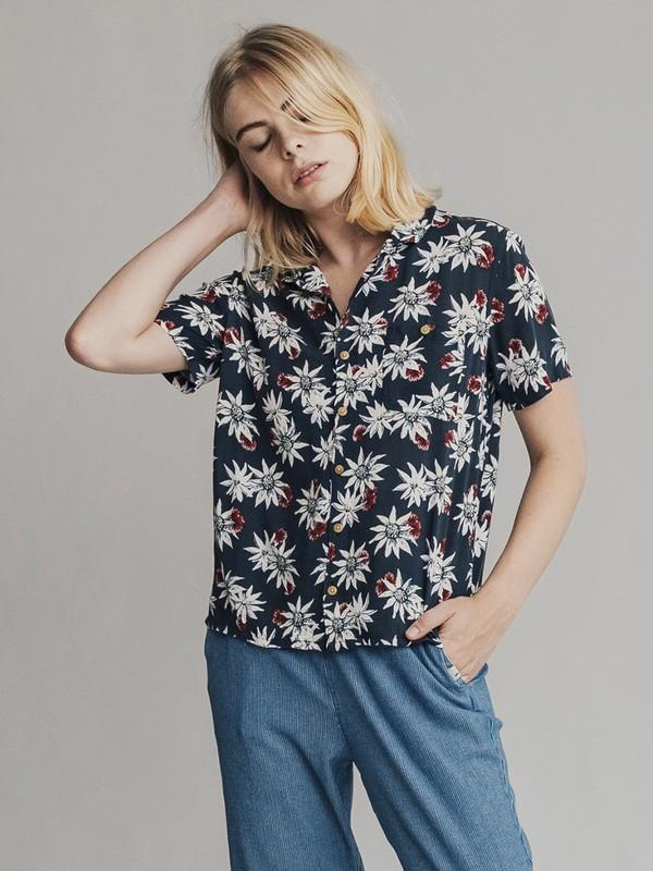 0 Quiksilver Womens - Camisa de Corte Amplio y Manga Corta para Mujer Azul EQWWT03004 Quiksilver