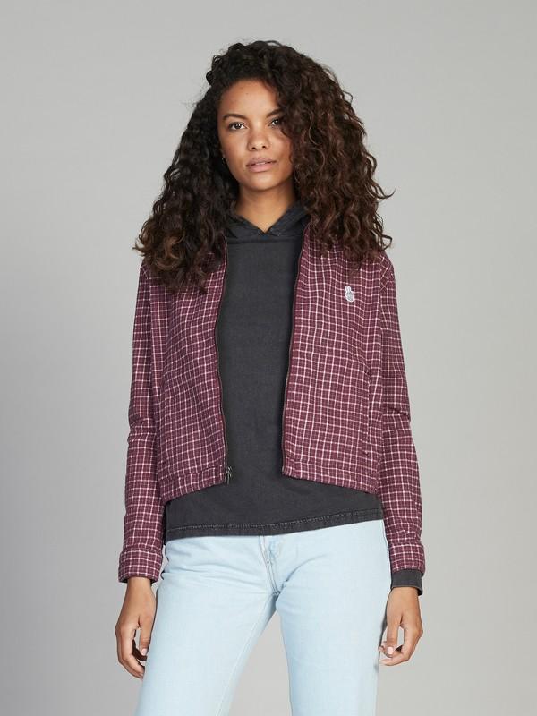 0 Quiksilver Womens Long Sleeve Zip-Up Shirt Red EQWWT03012 Quiksilver