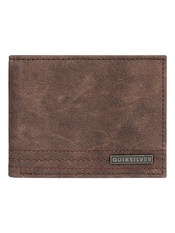0 Stitchy Wallet Bi-Fold Leather Wallet Brown EQYAA03823 Quiksilver