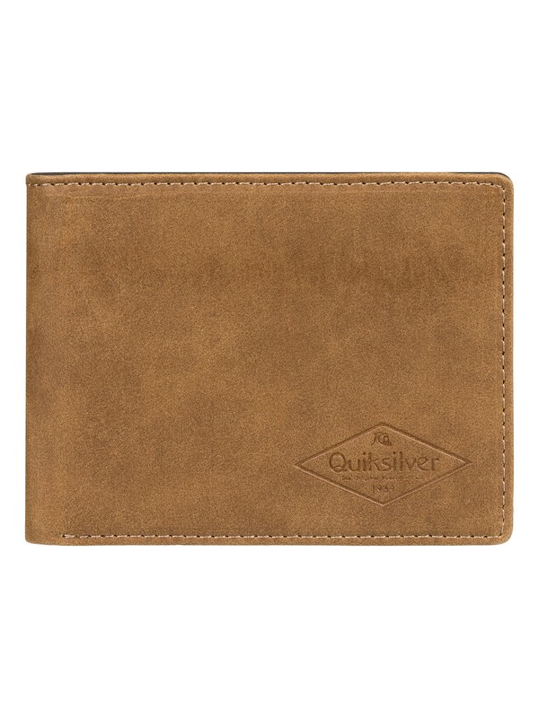 0 Slim Vintage - Bi-Fold Leather Wallet Brown EQYAA03848 Quiksilver