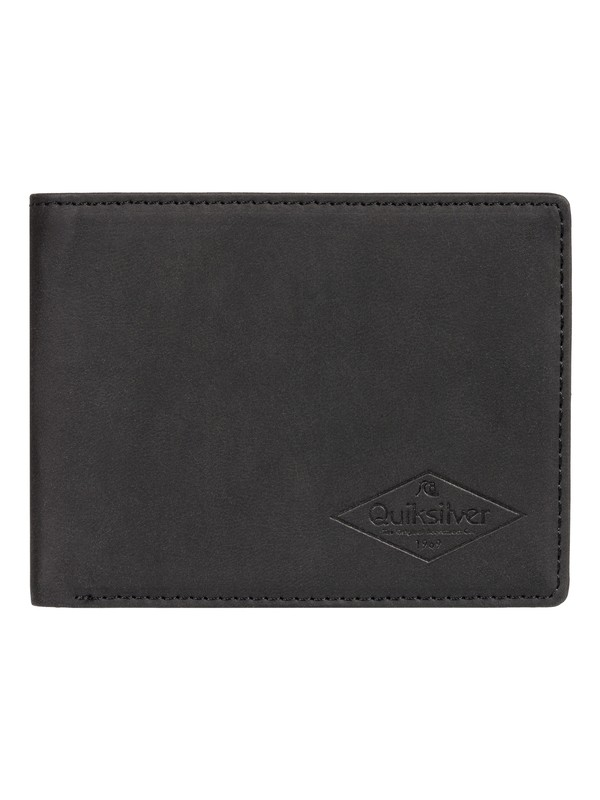 0 Slim Vintage Bi-Fold Leather Wallet Black EQYAA03848 Quiksilver