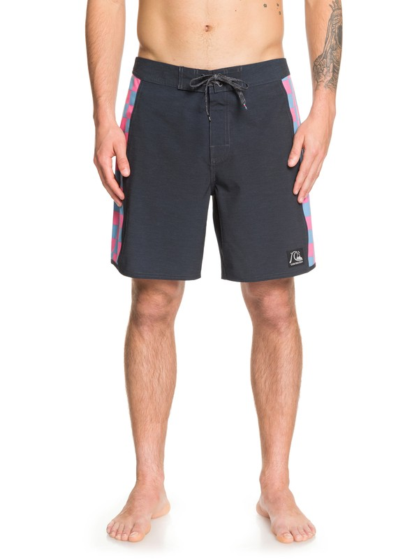 "0 Echo Beach Checker 18"" Boardshorts Black EQYBS04141 Quiksilver"