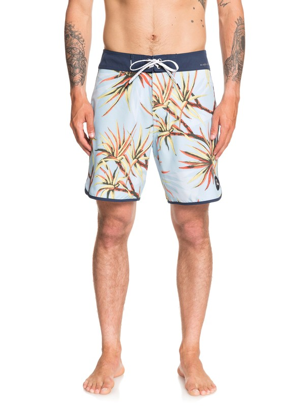 "0 Highline Salty Palms 18"" Boardshorts Blue EQYBS04263 Quiksilver"