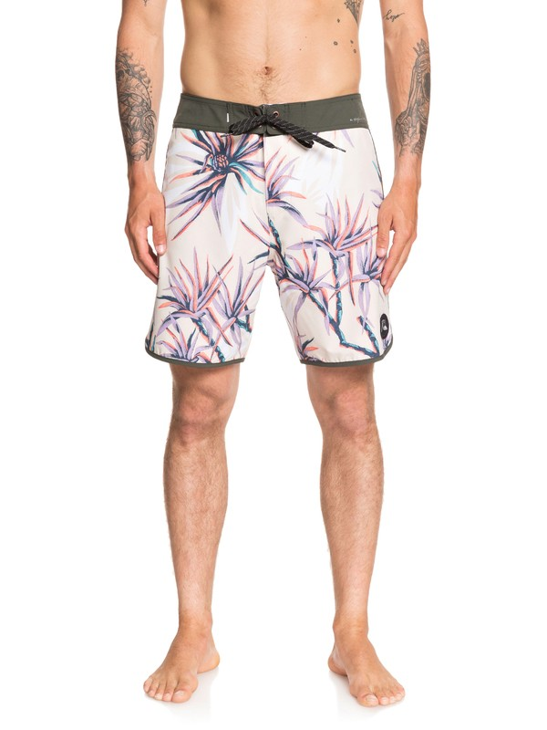 "0 Highline Salty Palms 18"" Boardshorts White EQYBS04263 Quiksilver"
