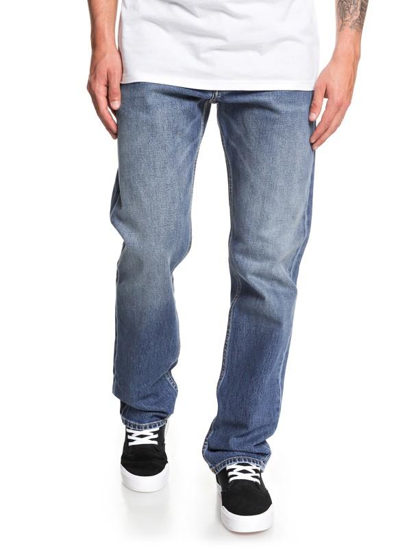 0 Sequel Medium Blue Straight Fit Jeans Blue EQYDP03405 Quiksilver