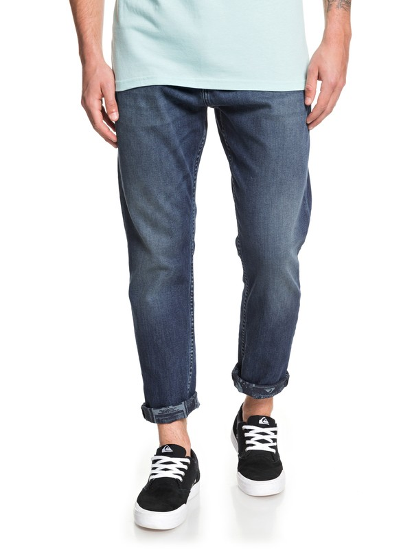 0 High Water Aged Blue - High Water Cropped Jeans Blue EQYDP03413 Quiksilver