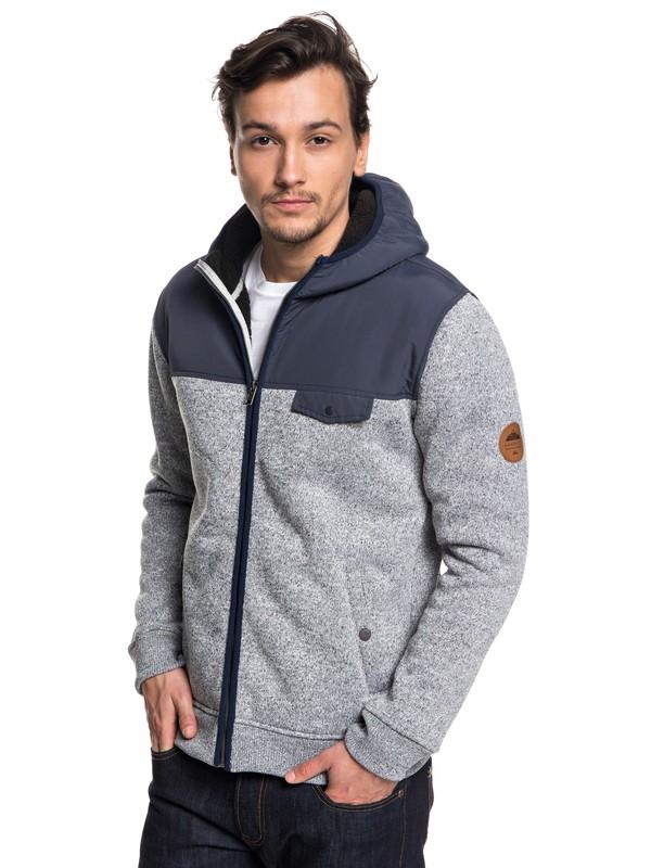 0 Keller Mix Zip-Up Hooded Fleece Blue EQYFT03834 Quiksilver