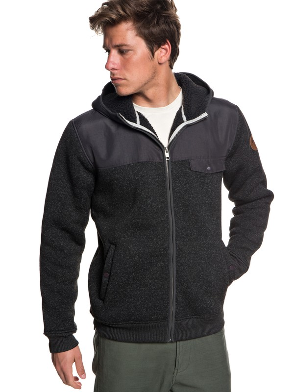 0 Keller Mix Zip-Up Hooded Fleece Black EQYFT03834 Quiksilver