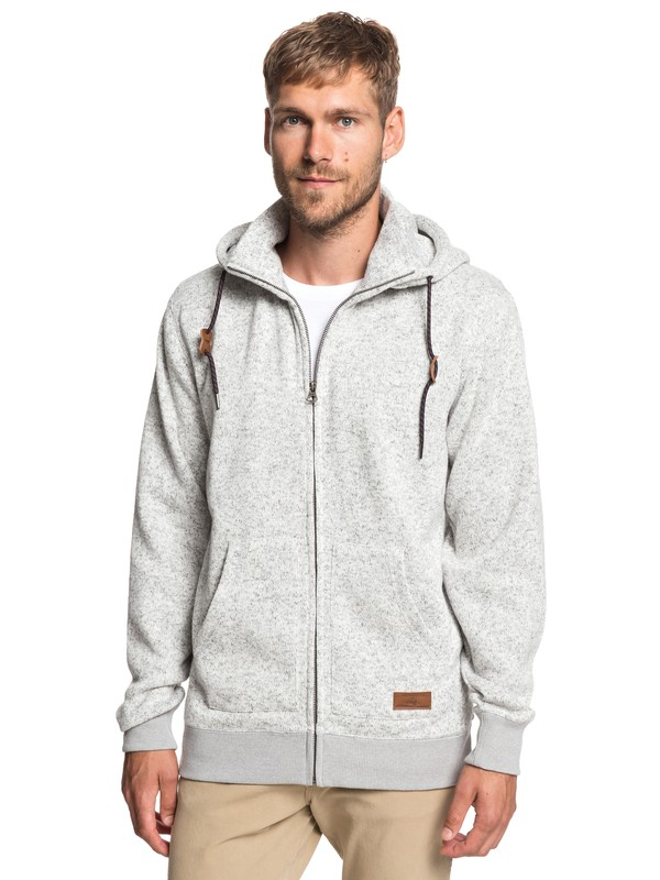 0 Keller - Zip-Up Polar Fleece Hoodie for Men Grey EQYFT03835 Quiksilver