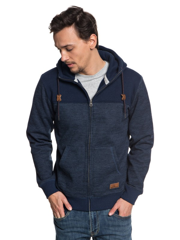 0 Keller Block Zip-Up Hooded Fleece Blue EQYFT03839 Quiksilver