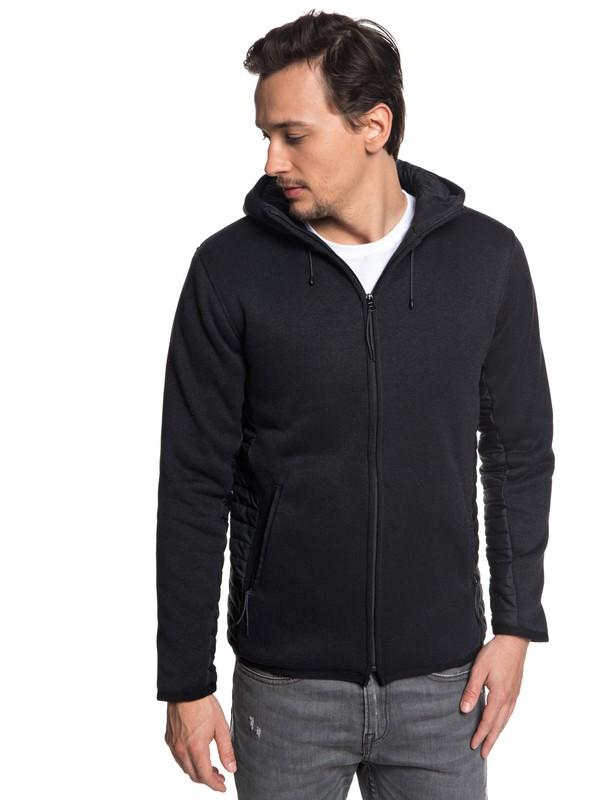 0 Keller Puff - Zip-Up Polar Fleece Hoodie for Men Black EQYFT03841 Quiksilver