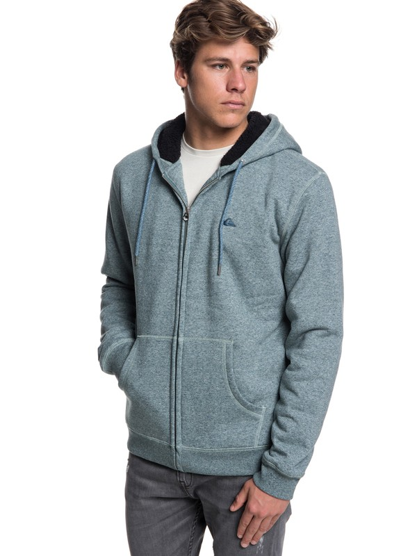 0 Everyday - Zip-Up Sherpa Lined Hoodie for Men Blue EQYFT03848 Quiksilver