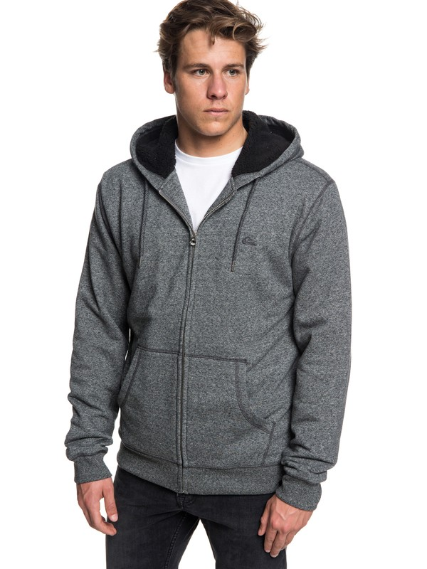 0 Everyday - Zip-Up Sherpa Lined Hoodie for Men Black EQYFT03848 Quiksilver
