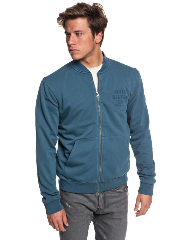 0 Aso Plains Zip-Up Bomber Sweatshirt Blue EQYFT03859 Quiksilver