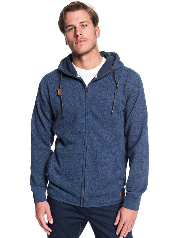 0 Keller Zip Hooded Zip-Up Fleece Blue EQYFT04010 Quiksilver