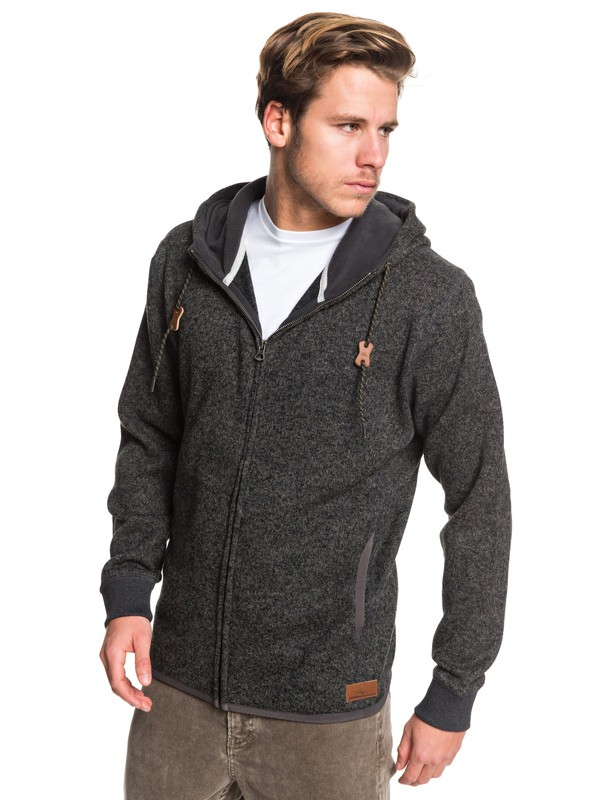 0 Keller Zip Hooded Zip-Up Fleece Black EQYFT04010 Quiksilver