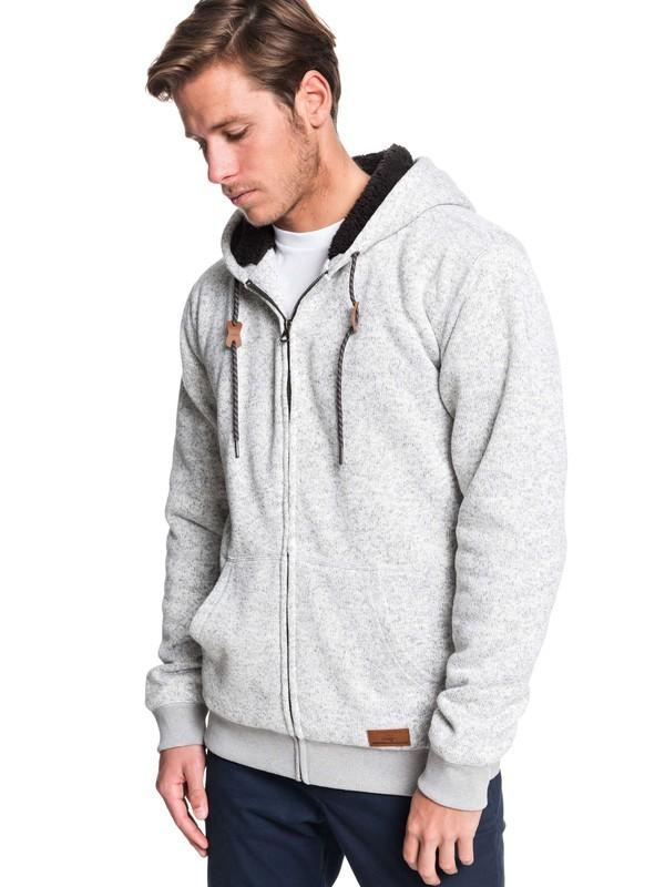0 Keller Sherpa Hooded Zip-Up Sherpa-Lined Fleece Grey EQYFT04011 Quiksilver