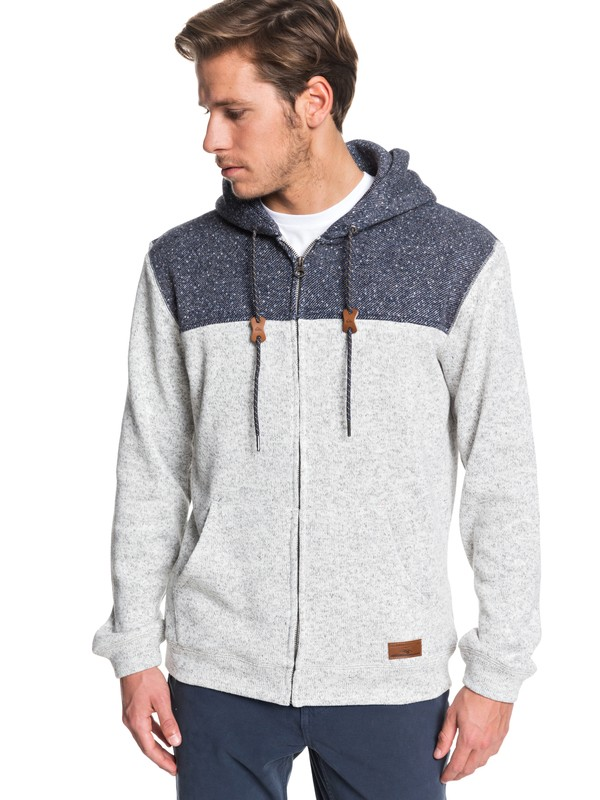 0 Keller Block Fleece Lined Hoodie Grey EQYFT04013 Quiksilver