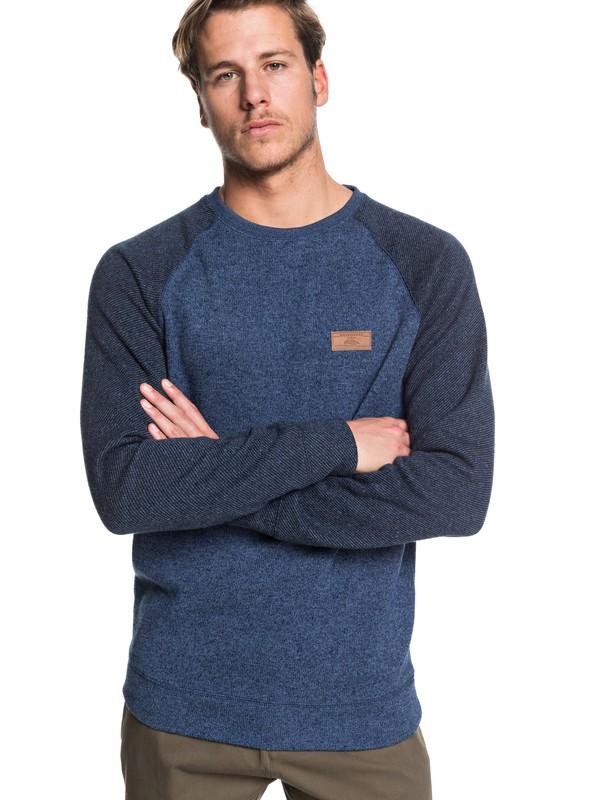 0 Keller Block Fleece Lined Sweatshirt Blue EQYFT04014 Quiksilver