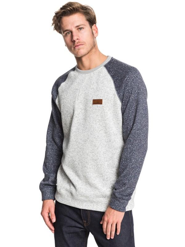0 Keller Block Fleece Lined Sweatshirt Grey EQYFT04014 Quiksilver