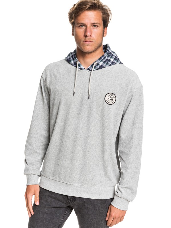 0 Wagon Road Corduroy Hooded Fleece Grey EQYFT04077 Quiksilver