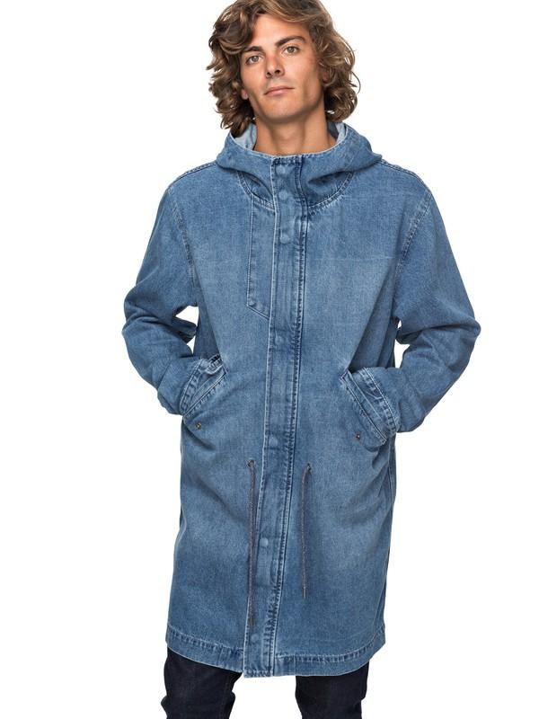 0 Brick - Mittellange Jeansjacke für Männer Blau EQYJK03396 Quiksilver