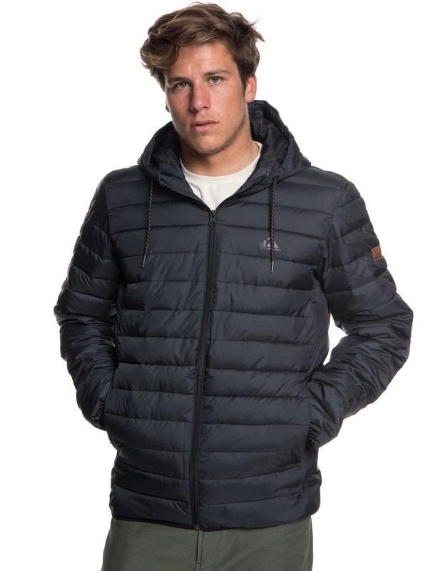 0 Scaly - Water-Resistant Puffer Jacket for Men Black EQYJK03418 Quiksilver