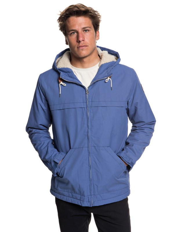 0 Wanna - Water-Resistant Hooded Parka for Men Blue EQYJK03434 Quiksilver