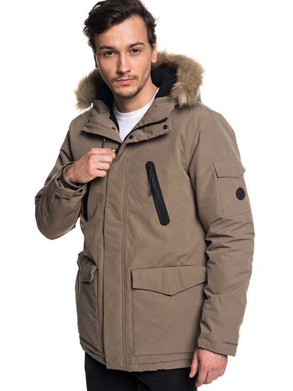 0 Storm Drop Athletic - Waterproof Hooded Parka for Men Grey EQYJK03437 Quiksilver