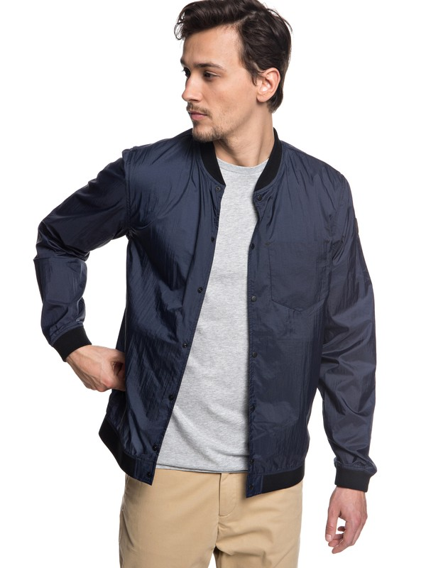 0 Qpak Packable Water Resistant Bomber Jacket Blue EQYJK03441 Quiksilver