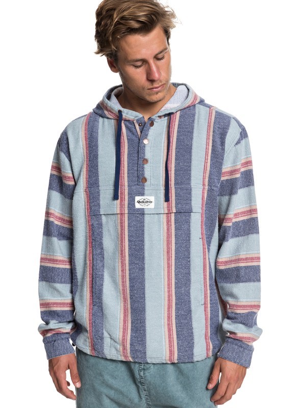 0 Neo Blue Flannel Hoodie Blue EQYJK03465 Quiksilver