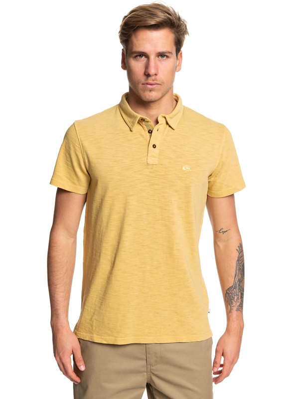 0 Everyday Sun Cruise Short Sleeve Polo Shirt Yellow EQYKT03784 Quiksilver